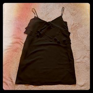 NWT J. Crew Black Silky Cami Dress with Ruffle